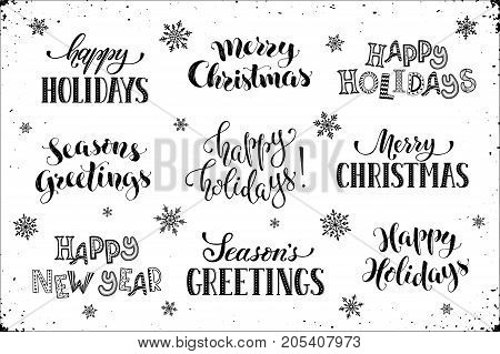 Hand written new year phrases greeting card text with snowflakes hand written new year phrases greeting card text with snowflakes isolated on white background m4hsunfo