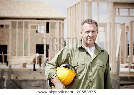 Rugged Male Construction Workers on the jobsite