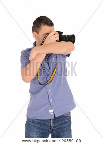 Professional Male Photographer Taking Picture . Isolated On White Background