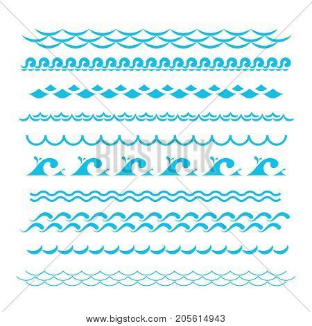 poster of Blue ocean waves. Sea wave vector silhouette signs. Water graphic elements isolated. Flat wave sea water curve illustration