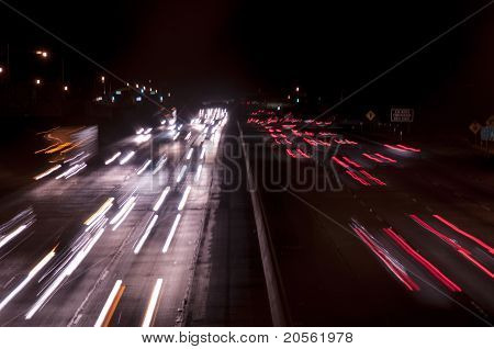 Freeway Traffic At Night
