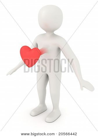 Scared 3D Man's Heart