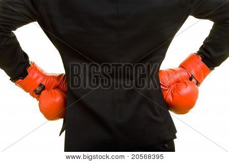 Business Man With Boxing Gloves Akimbo