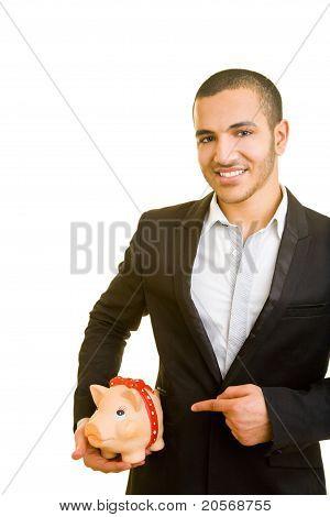 Business Man Carrying Piggy Bank