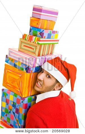 Man Balancing Christmas Gifts