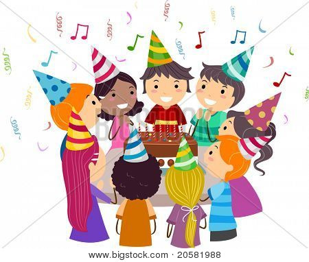 Illustration of Kids Gathered Around a Birthday Cake