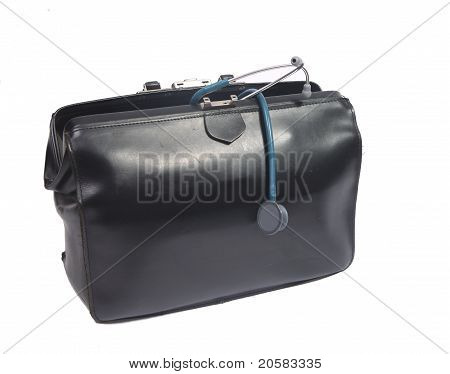 Blue Stethoscope And Doctor's Bag