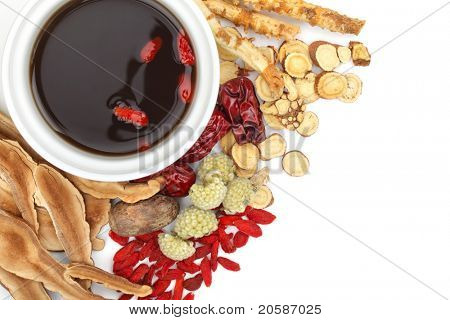 Chinese traditional herbs and medicine close up