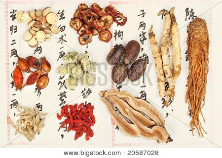 Collection of Chinese medicine formula - Chinese characters are names for the herbs in the formula