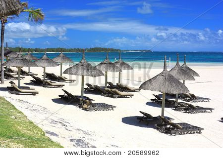 Resort Beach In Mauritius Island