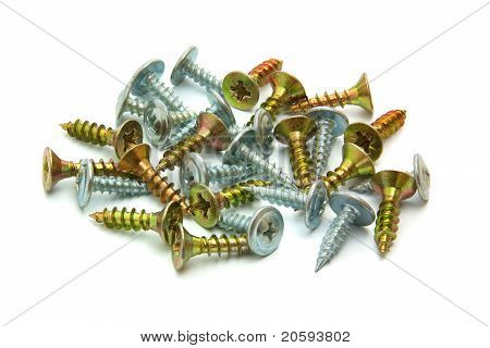 Wood Screws With Countersunk Head Isolated On White