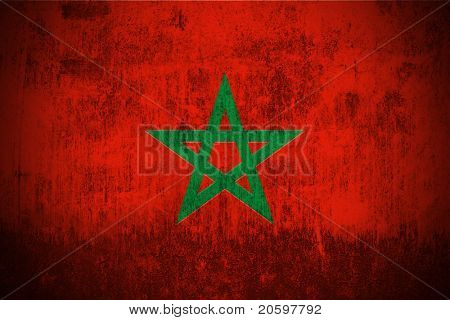 Weathered Flag Of Morocco, fabric textured