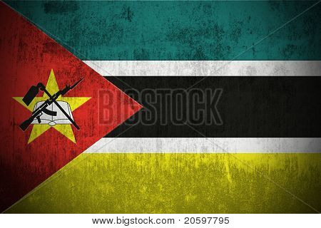 Weathered Flag Of Mozambique, fabric textured