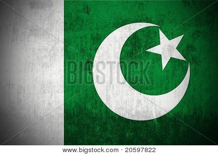 Weathered Flag Of Pakistan, fabric textured