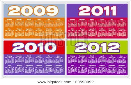 Calendar for 2009, 2010, 2011 and 2012