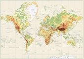 Detailed Physical World Map Isolated On Retro White Color poster
