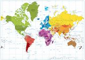 World Map Spot Colored Illustration poster