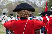 image of corps  - Colonial Drum and Fife Corps at attention during reenactmet - JPG