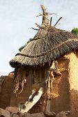 image of dogon  - Animal skins hanging in Dogon tribe village Songo in Mali - JPG