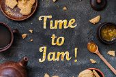 Food Typography Time To Jam On Dark Background. Orange Jam Lettering. Holiday Dessert Concept poster
