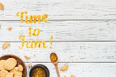 Food Typography Time To Jam On White Wooden Rustic Background, Copy Space poster