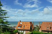 Country Houses With Sea View In The Region Of Normandy, France On A Bright Sunny Day. Beautiful Coun poster