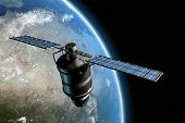 stock photo of planet earth  - satellite orbiting earth - JPG