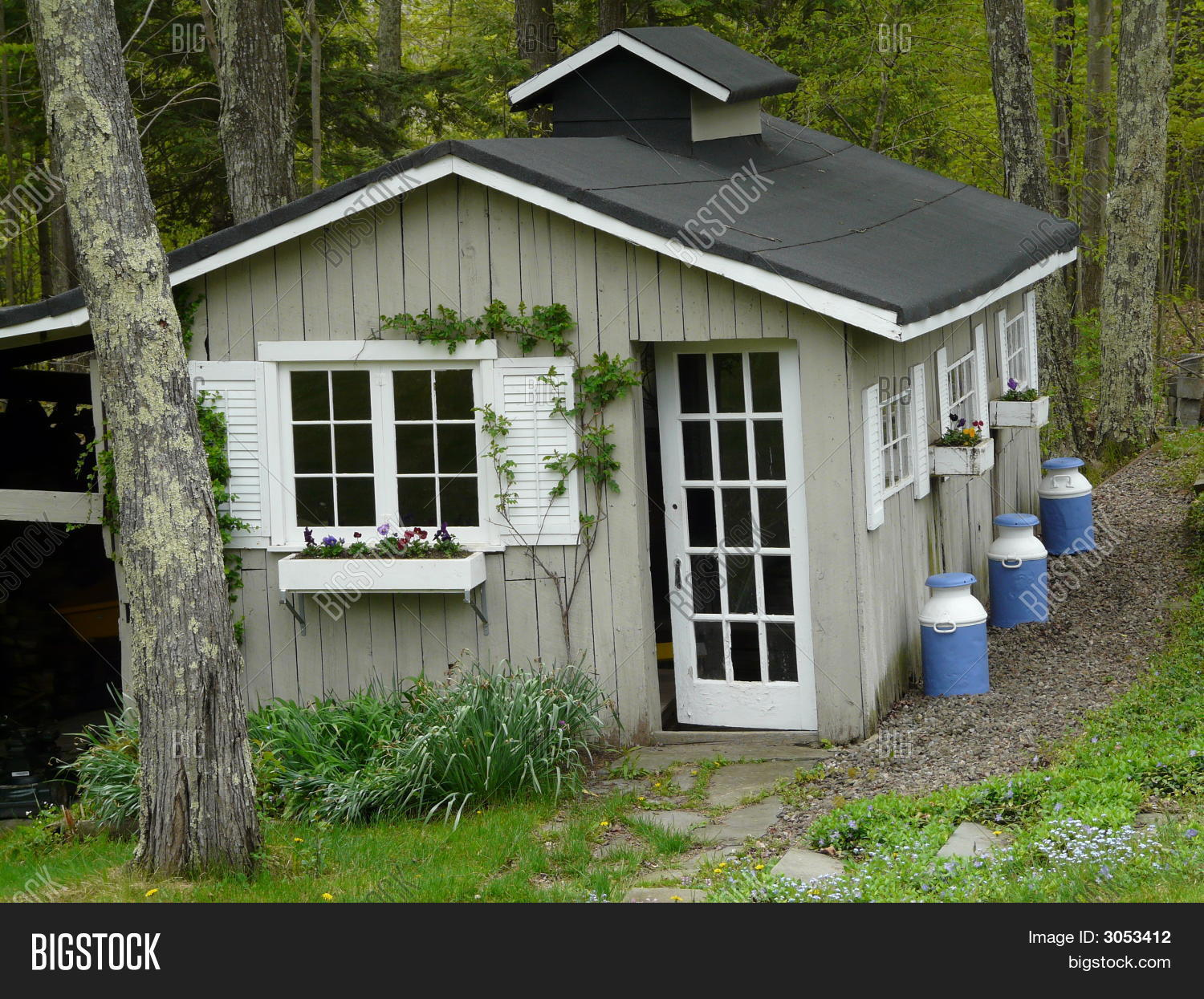 Pretty garden shed image photo bigstock for Pretty garden sheds