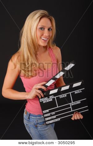 Blond Girl With Cinema Clapboard