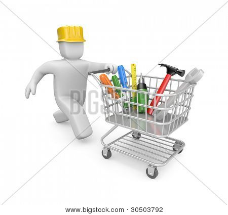 Shopping cart filled by tools. Image contain clipping path