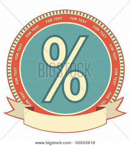 Percent Sign.vector Label Background On White