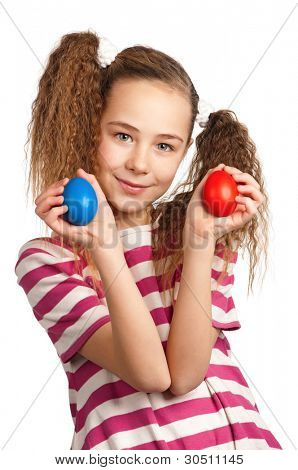 Portrait of happy girl with easter eggs isolated on white background