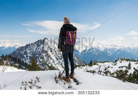 poster of Traveler Girl Hike Alone On Mountain's Peak.