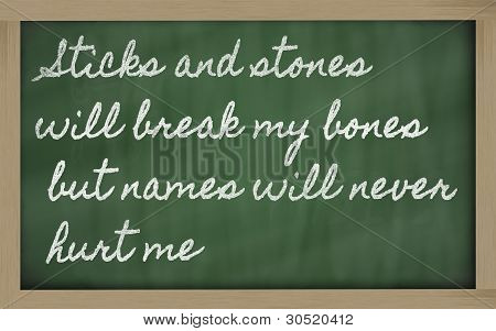 Expression -  Sticks And Stones Will Break My Bones But Names Will Never Hurt Me - Written On A Scho