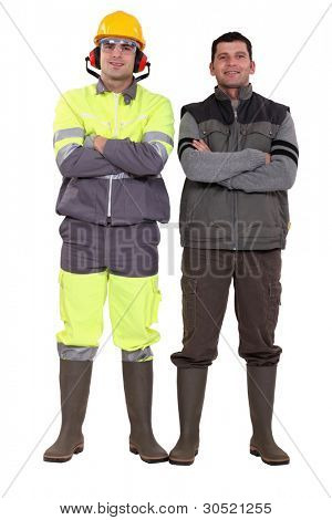 duo of craftsmen posing cross-armed