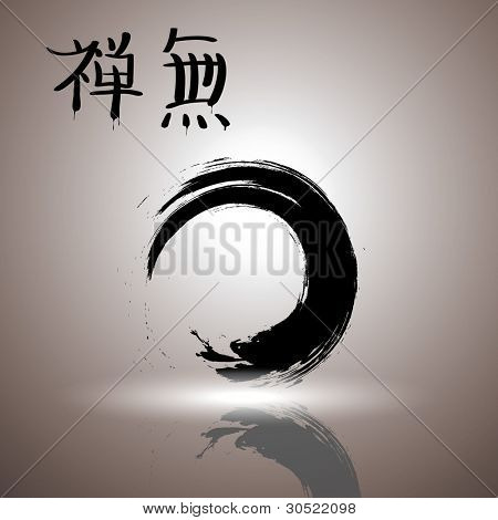 Enso the symbol of Zen Buddhism.It symbolizes absolute enlightenment, strength, elegance, the universe, and the void. Japanese hieroglyphs on a picture mean a zen and emptiness.