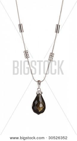 Pendant with black gem isolated on white