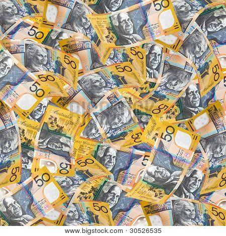 Australian fifty dollar notes make a full-frame wallpaper.