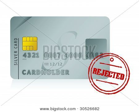 credit card rejected illustration design over white