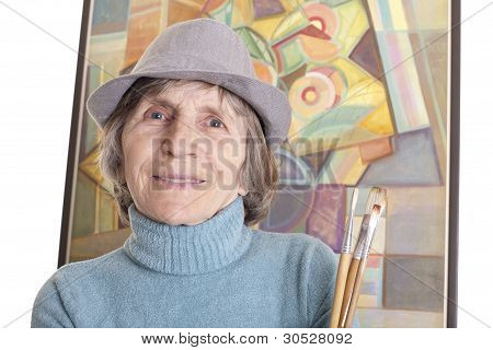 Senior Woman Painting Artist