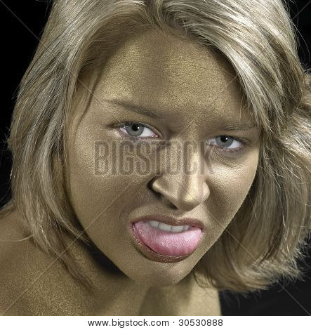 Angry Woman With Golden Face