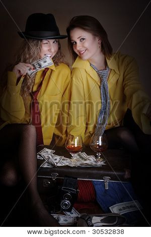 Two Beauty Girls In Yellow Man Shirts