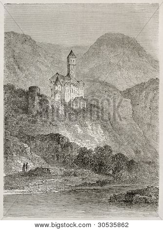 Zwingenberg castle and Neckar river old view, Germany. Created by Stroobant, published on Le Tour Du Monde, Paris, 1867