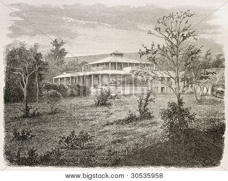 Governor residence in Noumea, New Caledonia. Created by Moynet after photo of unknown author, published on Le Tour Du Monde, Paris, 1867