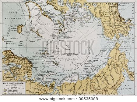 Arctic old map. By Paul Vidal de Lablache, Atlas Classique, Librerie Colin, Paris, 1894