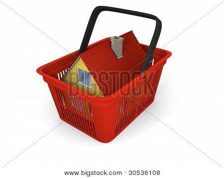 House In Shopping Basket
