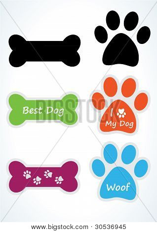 Dog Sticker Set. Vector