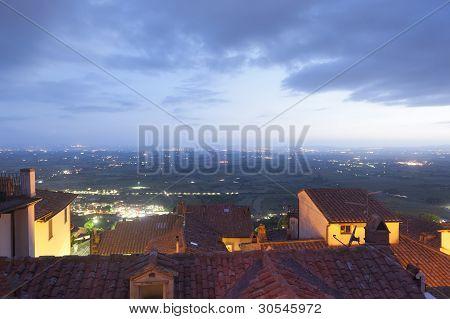 Panorama From Cortona By Night