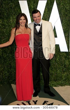 LOS ANGELES - FEB 26:  Lauren Sanchez; Seth MacFarlane arrive at the 2012 Vanity Fair Oscar Party  at the Sunset Tower on February 26, 2012 in West Hollywood, CA