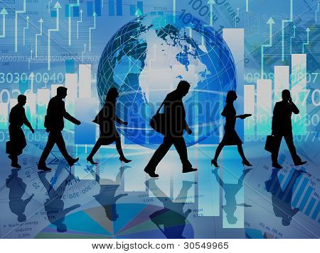 Illustration of a crowd of business people